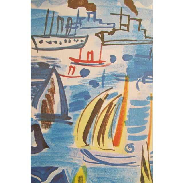 Raoul Dufy 1954 Raoul Dufy Exhibition Poster, Honfleur Harbour Scene For Sale - Image 4 of 5