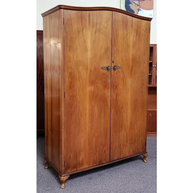 Brown Vintage Walnut Double Door Armoire C.1940 For Sale - Image 8 of 8