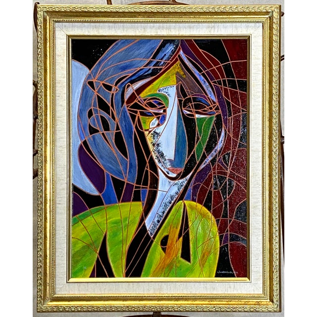 Red Beautiful Vintage Oil on Canvas Signed Abstract Cubism Gold Frame For Sale - Image 8 of 8