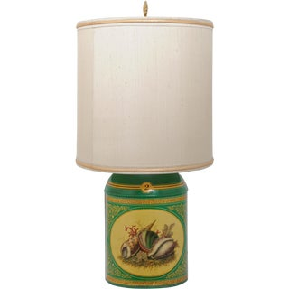 Early 20th Century Sea Shell Tole Canister Lamp #2 For Sale