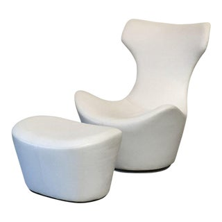 Modern B&b Italia 'Grande Papilio' Lounge Chair & Ottoman For Sale