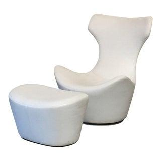 Modern B&b Italia 'Grande Papilio' Lounge Chair & Ottoman For Sale