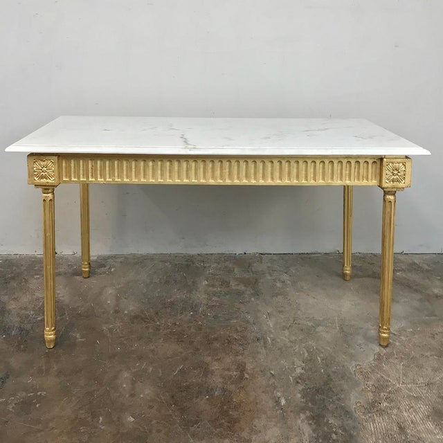 Early 20th Century Antique French Louis XVI Gilded Marble Top Coffee Table For Sale - Image 5 of 11