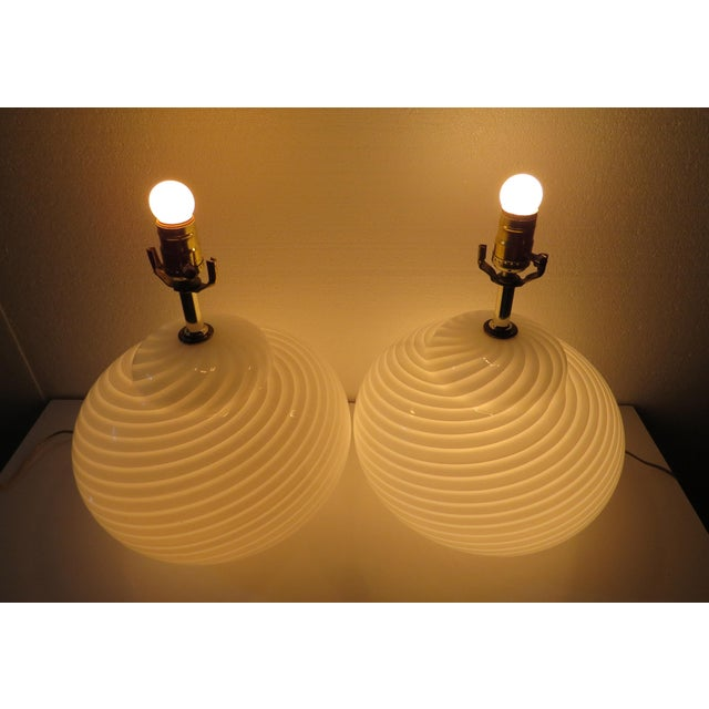Mid-Century Modern Murano Glass Swirl Lamps - a Pair For Sale - Image 11 of 13