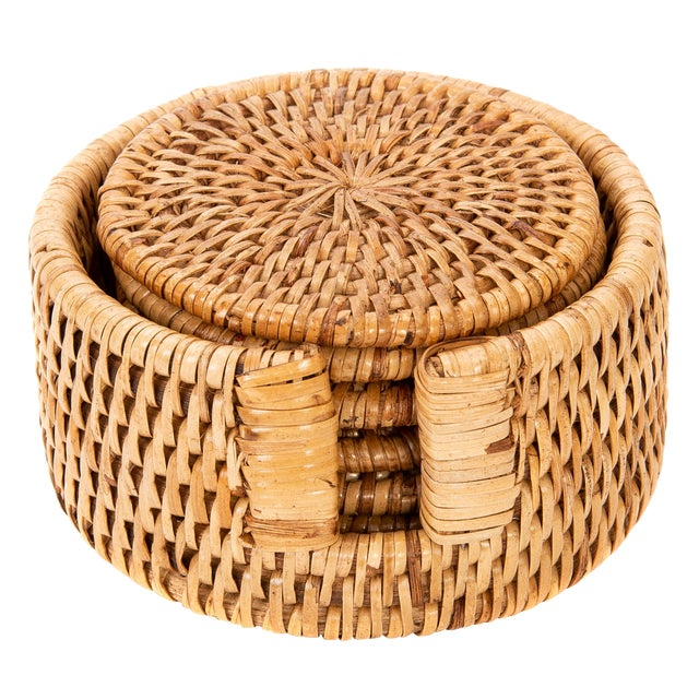 Artifacts Rattan 6-Piece Round Coaster Set With Box For Sale