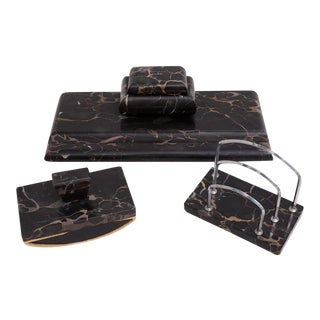 Art Deco Black Marble French German Desk Set For Sale