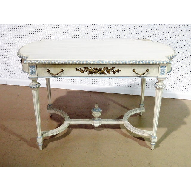 Swedish Louis XVI style distressed painted library table with one drawer.