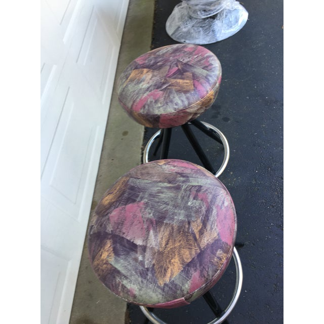 1950s Mid Century Modern Patterened Swivel Bar Stools - Set of 4 For Sale In Detroit - Image 6 of 8