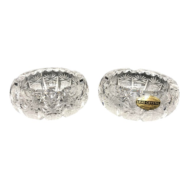 Vintage Crystal Ash Trays-a Pair For Sale