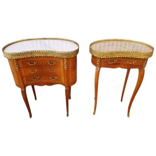 Louis XV Style End Marble Top Tables or Nightstands - a Pair For Sale