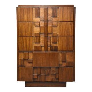 Lane Brutalist Walnut Dresser