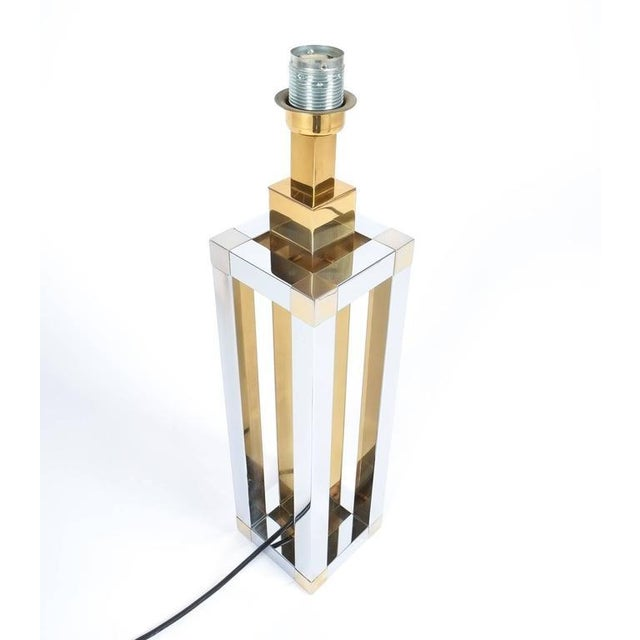 1970s Pair of Chrome and Brass Table Lamps by Romeo Rega For Sale - Image 5 of 10