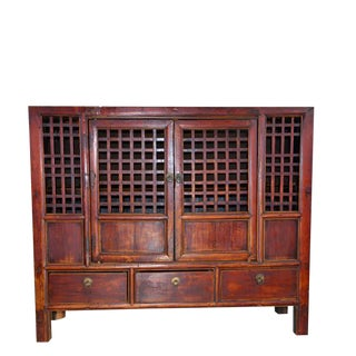 Large Chinese Country Elm Kitchen Cabinet For Sale