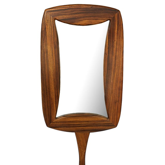 Studio Craft Movement Carved Zebrawood Standing Floor Mirror For Sale In Chicago - Image 6 of 13