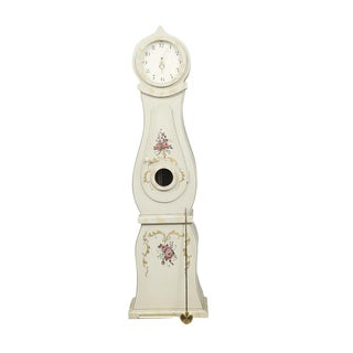 1900s Swedish Gustavian Cream Mora Clock For Sale