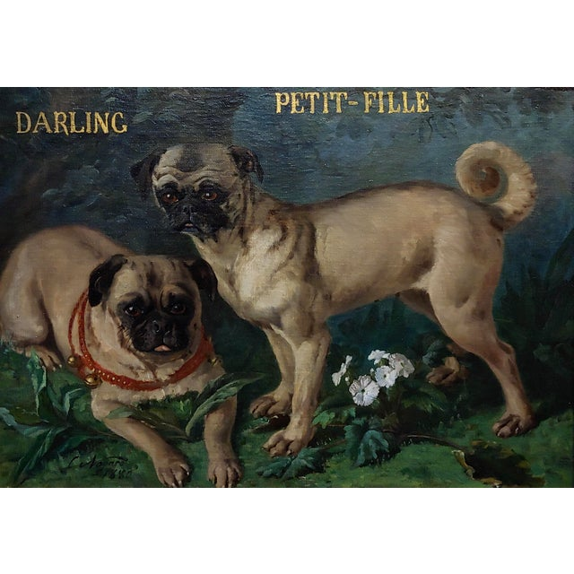 Charles Nogaro - Portrait of two Pugs-19th century French oil painting oil painting on canvas -signed and dated 1880 frame...