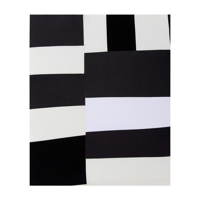 Abstract Minimalist Black and White Textile Painting For Sale