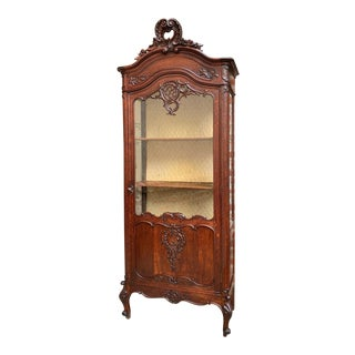 19th Century Antique Louis XV French Carved Oak Glass Display Cabinet Vitrine For Sale