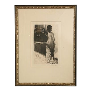 19th Century Figurative Etching Hand Signed by Lobel Riche, Framed For Sale