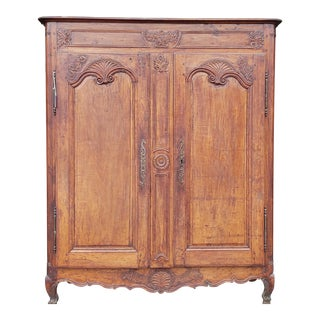 Antique 18th Century Carved Walnut Small Scale French Louis Style Double Door Armoire For Sale