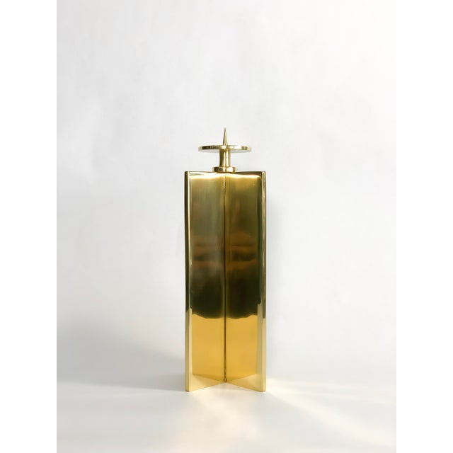 Global Views Brass Axis Candleholder For Sale - Image 4 of 4