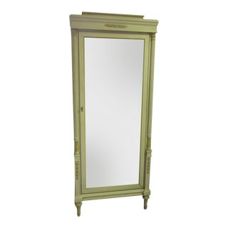 1950s Italian Hand Painted Apple Green Lighted Display Cabinet With 4 Glass Shelves For Sale