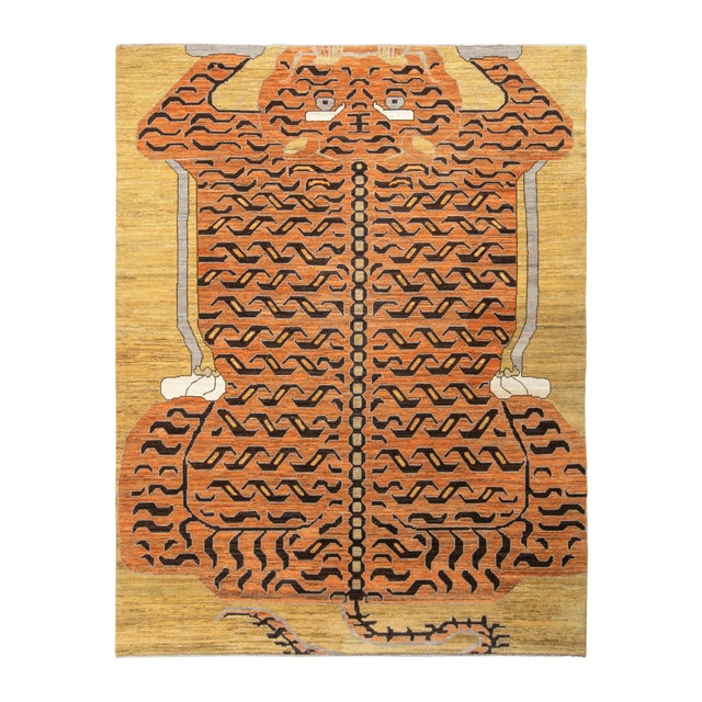 Handknotted Regal Geometric Tiger Rug, Wheat Gold, 9'x14' For Sale - Image 9 of 9