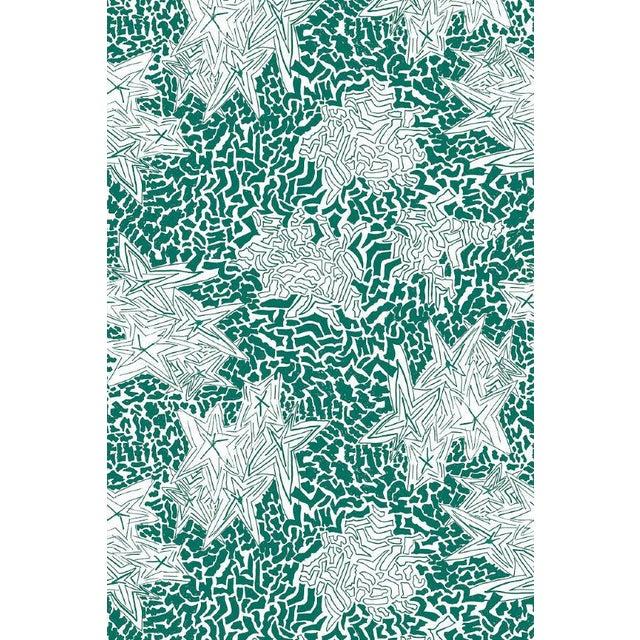 Contemporary Zebra Star Emerald Wallpaper For Sale - Image 3 of 3