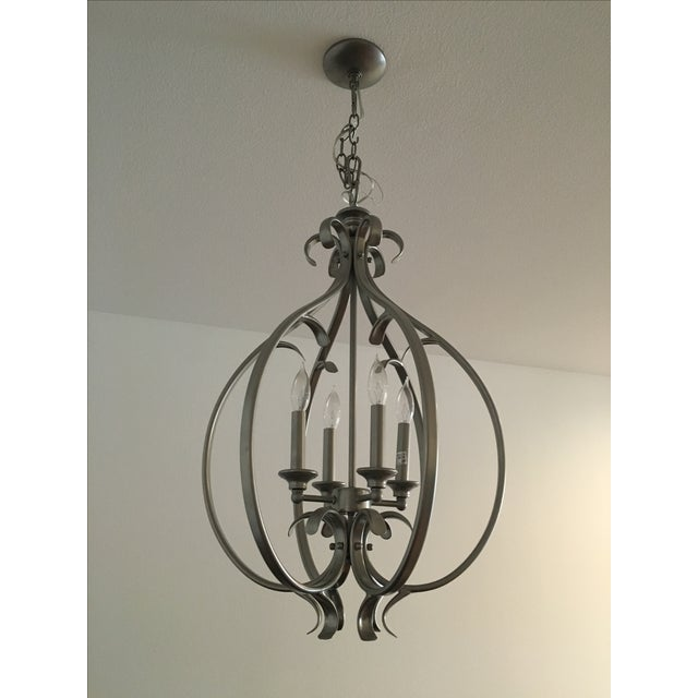 Transitional Silver-Tone Chandelier - Image 5 of 5