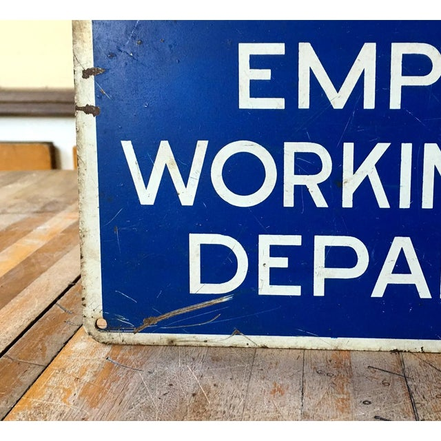 Vintage Metal Employees Only Industrial Sign For Sale - Image 5 of 6