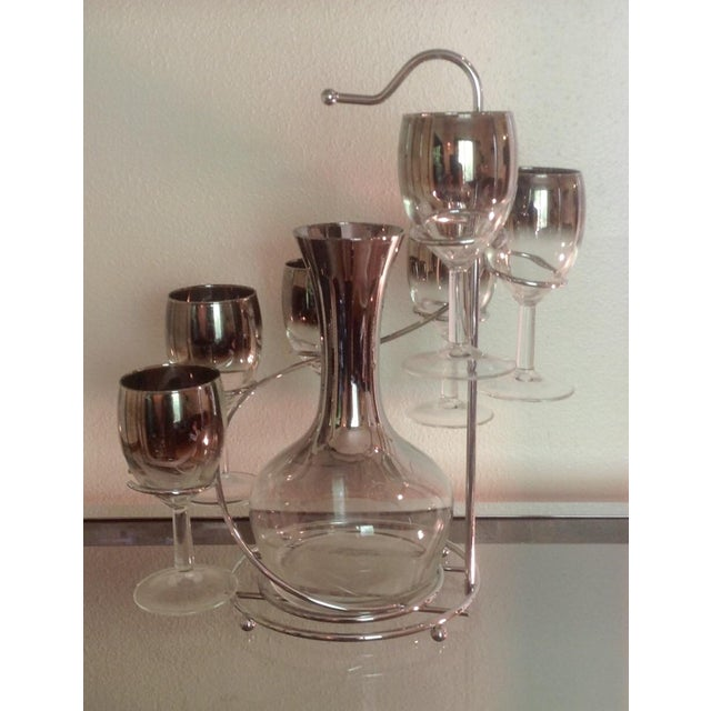 7-Piece Silver Ombre Spiral Decanter Set For Sale - Image 4 of 6