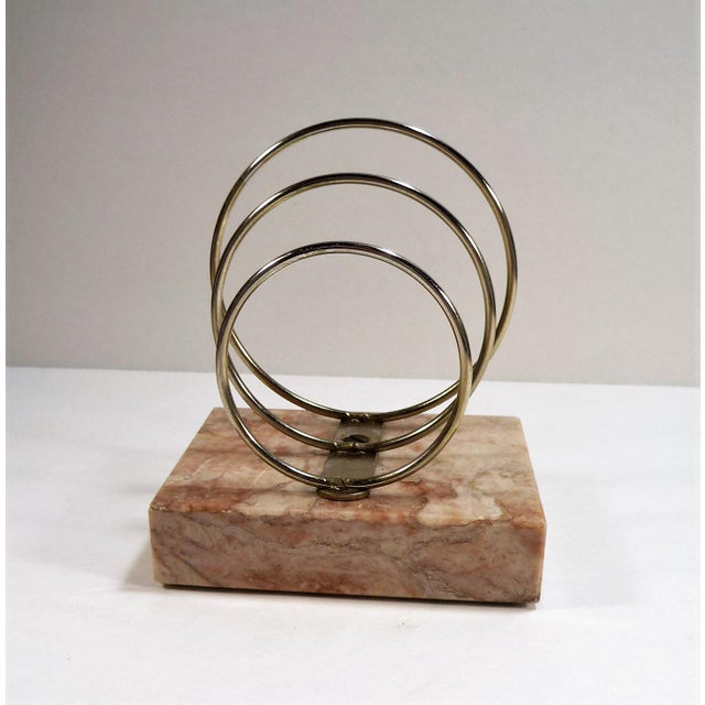 Vintage Retro Mid-Century Letter Organizer Chrome Rings on Marble - Image 2 of 7