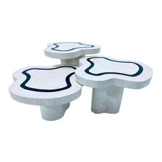 Organic Free-Form Tessellated Stone Nesting Tables For Sale