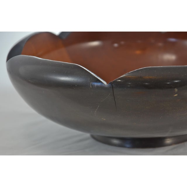 Mid Century Carved Two-Tone Wood Bowl For Sale In Chicago - Image 6 of 7
