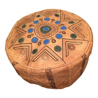 Moroccan Hand Made Leather Pouf /Ottoman For Sale