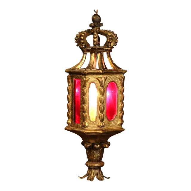 18th Century Italian Carved Giltwood Three-Light Lantern With Stained Glass For Sale