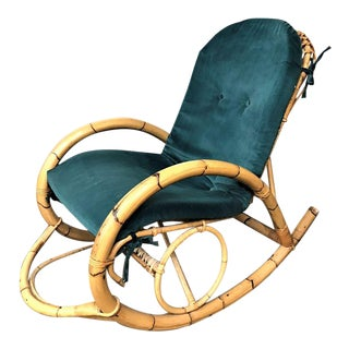 1960s Franco Albini Rattan Bamboo Rocking Chair For Sale