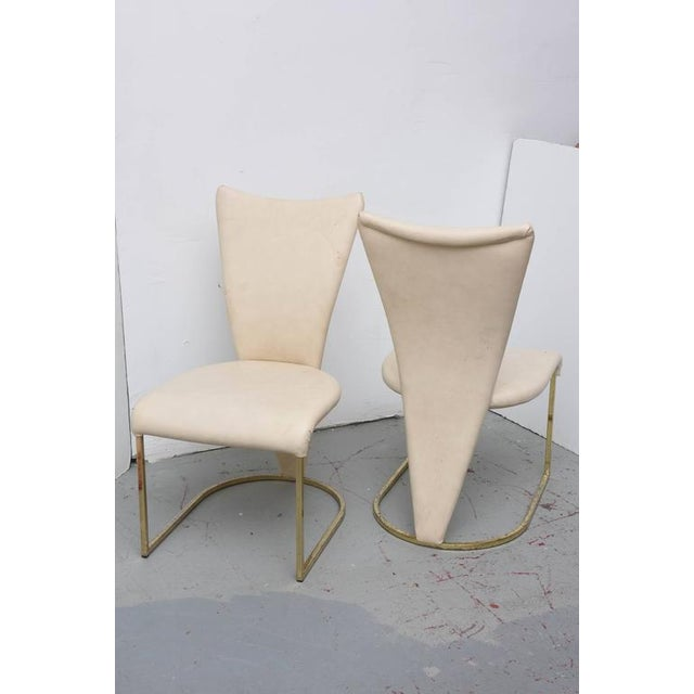 1980s Design Institute of America Post-Mod Brass Dining Chairs, Set of Four, 1980s For Sale - Image 5 of 10