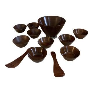 Vintage Mahogany Dollywood Salad Bowl Set - 12 Piece Set For Sale