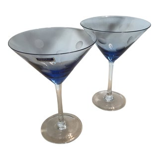 2 Blue Marquis by Waterford Crystal Martini Glasses With Etched Dots - a Pair For Sale
