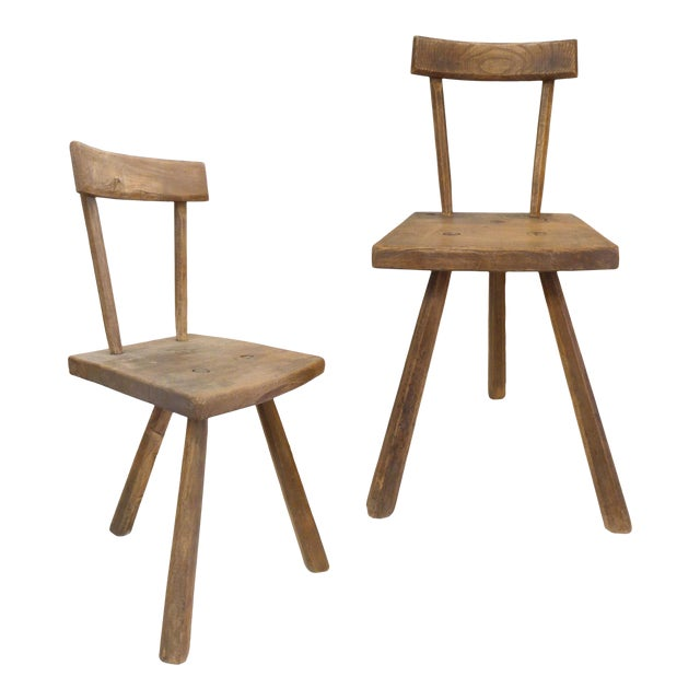 Pair of French 3-Legged Chairs Attributed to Jean Touret For Sale