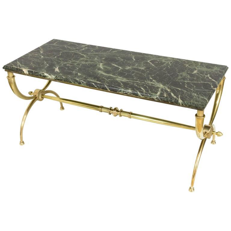 French Brass Coffee Table With Green Marble Top By Raymond Subes   Image 8  Of 8