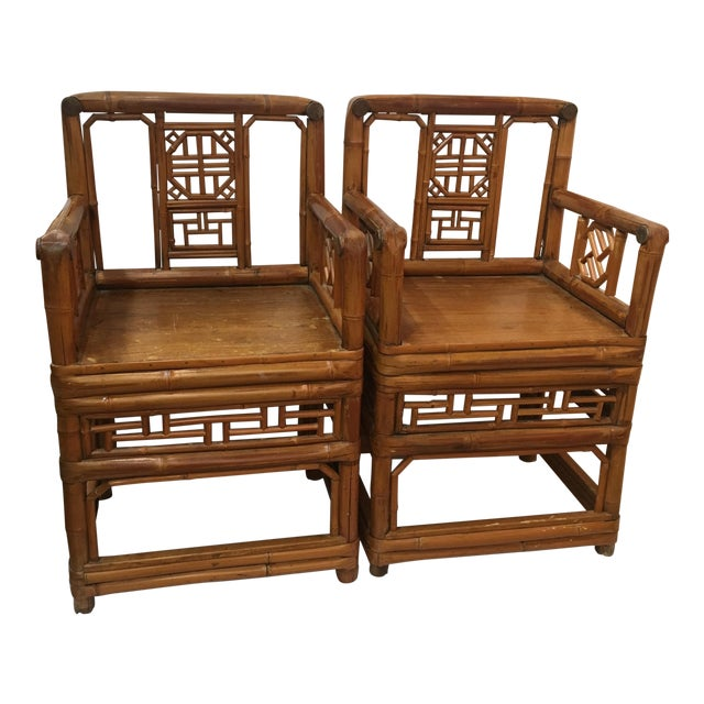 Bamboo Chinese Chippendale Arm Chairs - a Pair For Sale