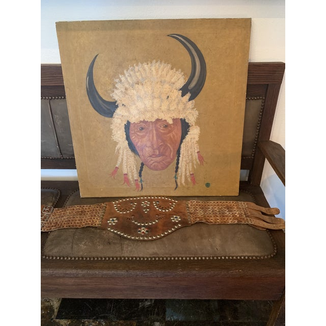 Native American Chief Oil on Canvas Painting For Sale - Image 4 of 7