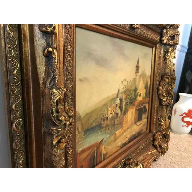 French German Village Scene Oil Painting in Huge Gilt Frame For Sale - Image 3 of 6