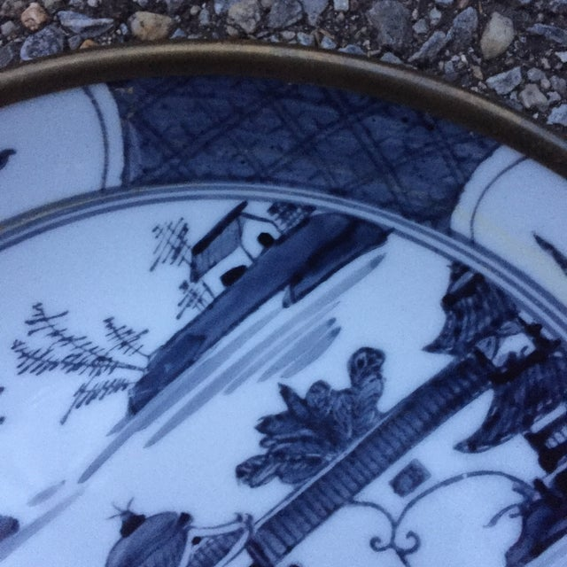 Chinoiserie Blue Willow Brass Clad Bowl - Image 4 of 6