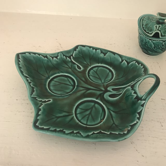 Mid 20th Century Wedgwood Green Majolica Condiment Set For Sale - Image 5 of 11