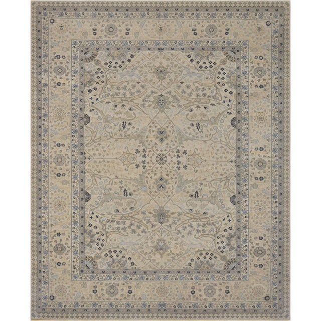 """Persian Mansour Exceptional Tabriz Rug - 8' X 9'9"""" For Sale - Image 3 of 3"""
