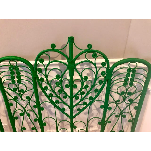 Mid 20th Century Vintage Boho Chic Wicker Emerald Green Twin Headboards - a Pair For Sale - Image 5 of 10