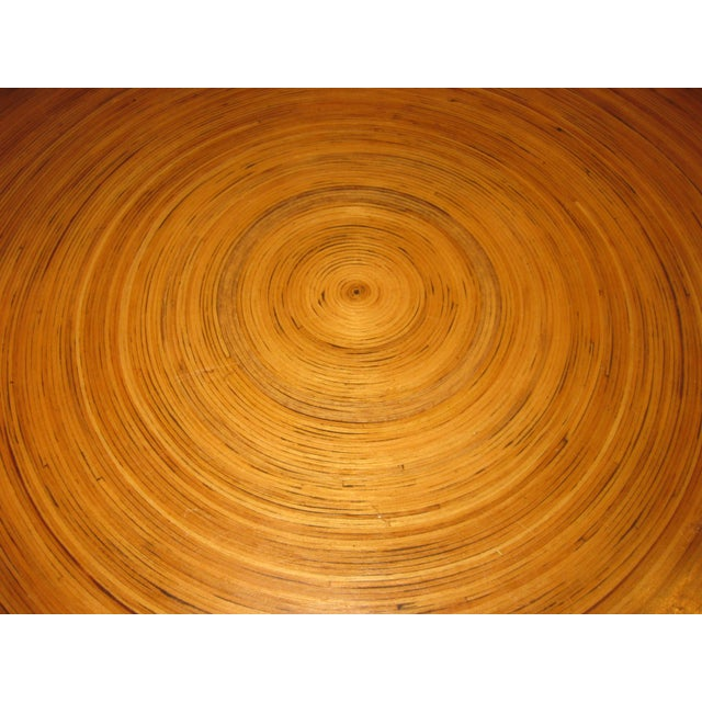 """Brown Mid-Century Modern Round Drum Low Table 30"""" For Sale - Image 8 of 12"""